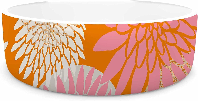 KESS InHouse Jacqueline Milton Flower Power orange Pink Illustration Pet Bowl, 7  Diameter