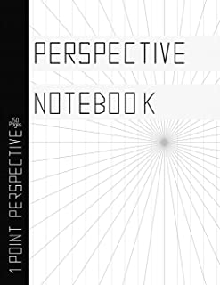 """Perspective Notebook: 1 Point Perspective Drawing Grids, Multiple Vanishing Point Layouts, 150 pages, 8.5"""" x 11"""" Practice Book for Artists"""