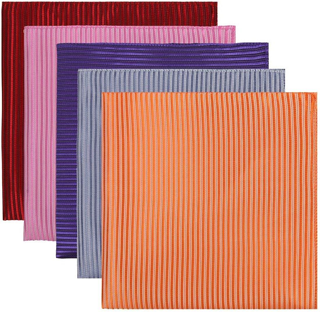 Dan Smith Men's Fashion Stripes Pocket Square Microfiber Hanky Multicolors Available