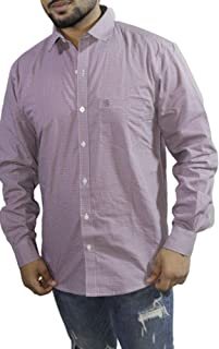 Spanish One Look Mens Long Sleeve 100% Cotton Regular Fit Button Down Casual Shirts Dress in Light Purple Printed Check Shirt for Men