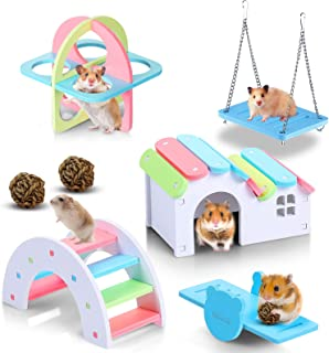 Skylety 7 Pieces Rainbow Hamster Toys Set Wooden Hamster House Rainbow Hamster Seesaw Bridge Swing Toy Sport Exercise Toy ...