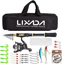 Lixada Telescopic Fishing Rod Reel Combo,Carbon Fiber Spinning Fishing Rod Reel with Fishing Line Lures Hooks Accessories Kit