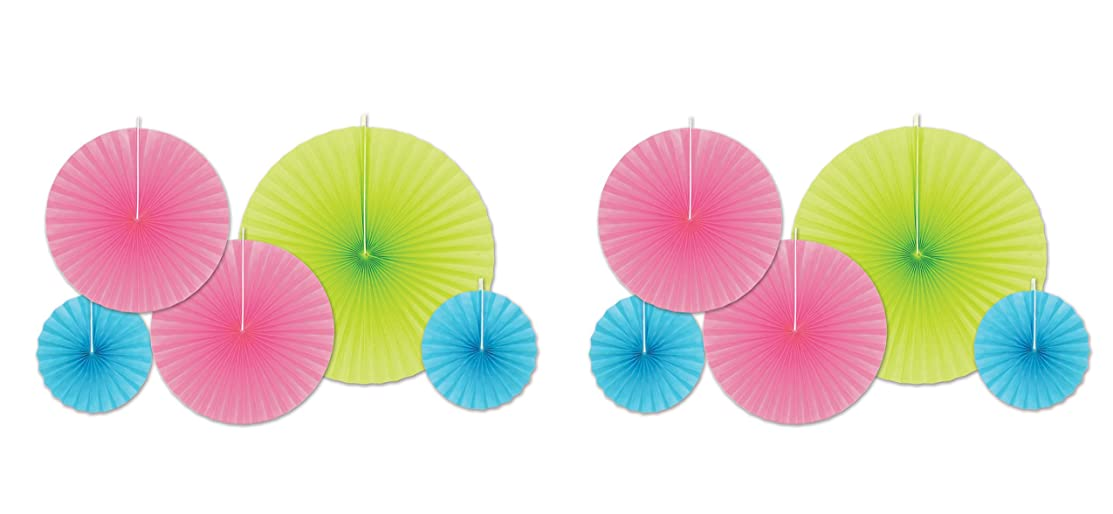 Beistle 53325 10 Piece Accordion Paper Fans, Assorted Sizes, Turquoise/Cerise/Lime Green