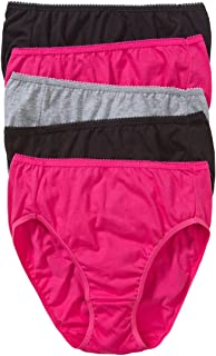 Hanes Women's Underwear Cotton Hi Cut Brief (5 Pack)