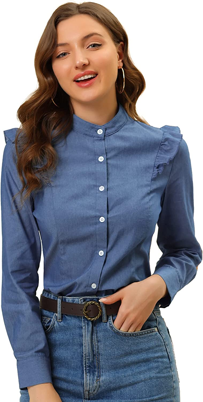Allegra K Women's Stand Collar Chambray Top Button Down Cotton Denim Blouse