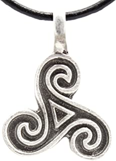 Pewter Triple Spiral of Life Celtic Pagan Pendant on Leather Necklace