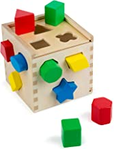 Melissa & Doug Shape Sorting Cube Classic Wooden Toy (Developmental Toy, Easy-to-Grip Shapes, Sturdy Wooden Construction, 12 Pieces)