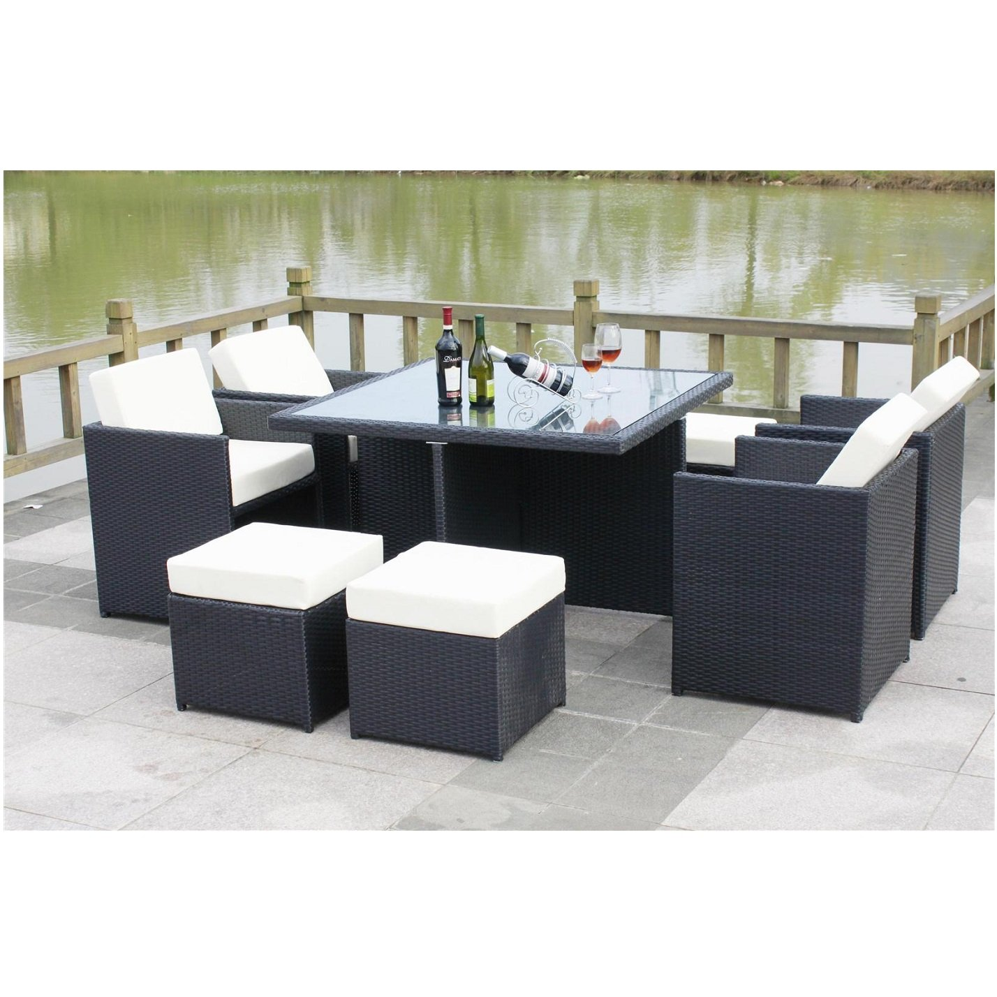 All Seasons Outdoor JT7s Rattan Garden Furniture Outdoor Patio Set With  Glass Table SUMMER SALE