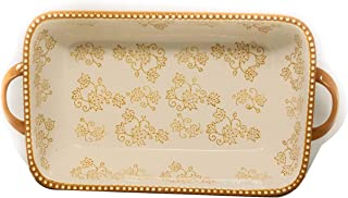 "Temp-tations 11""x7"" 2.5 Quart Baker Lasagna CasseroleDish Replacement (Handles, Floral Lace Fall) EW-F"