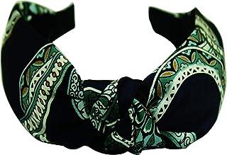 AyA Fashion Women's Broad Knotted Hairband with Printed Design | Retro Style Wide Bandana