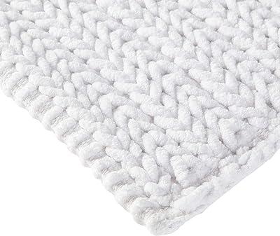Madison Park Lasso 100% Cotton Chenille Chain Woven Stitch Bathroom Rug-Non Slip-Absorbent, Quick Dry Bath Mat, 24x40, White