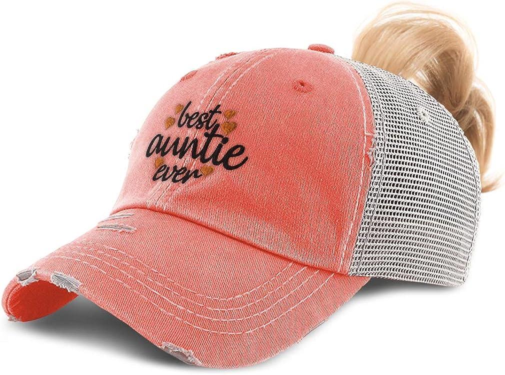 Custom Womens Ponytail Cap Best Auntie Ever Orange Embroidery Cotton