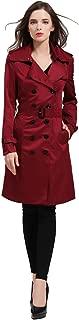 Women British Double Breasted Slim Long Trench Coat Windbreaker