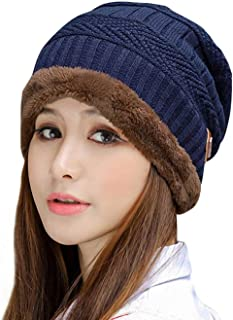 Thick Warm Winter Beanie Hat Soft Stretch Slouchy Skully Knit Cap for Women
