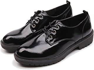 AIMEIGAO Women's Black Oxfords, Patent Leather Oxford Shoes for Women, Casual Lace Up Wingtip Oxfords with Low Platform Heel, Durable Rubber Sole, Size 5.5 to 9