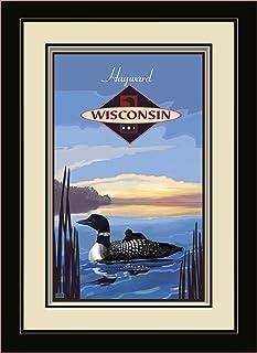 """Northwest Art Mall JK-4010 MFGDM LOO Hayward Wisconsin Loon Framed Wall Art by Artist Joanne Kollman, 13"""" x 16"""""""