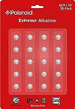 Polaroid Extreme AG11 LR58 361 362 162 LR721 1.5V Button Cell Alkaline Batteries Mercury Free 0% Hg (20-Pack) - 2025 Expiry Date