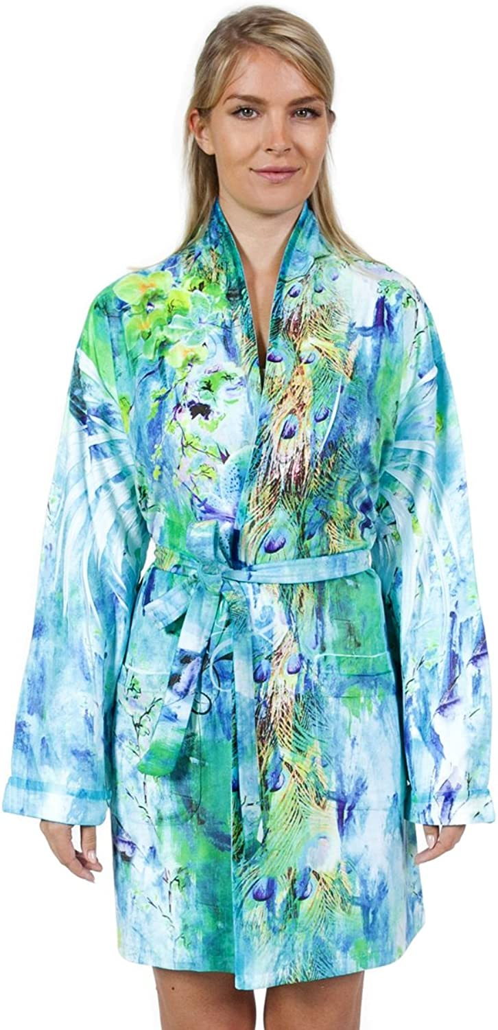 Wrap Up by VP Exotic Feather Microfiber Short Robe in Tropical Turquoise colors, S M