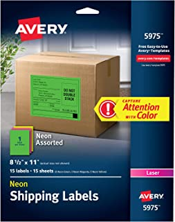 Avery Neon Laser Labels, Rectangle, Assorted Fluorescent Colors, 8-1/2 x 11, 15/Pack (5975)