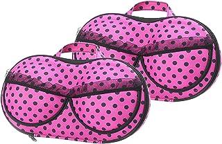 Bra Travel Case 2 Pack, Portable Bra Lingerie Storage Bikini Bag - Waterproof Underwear Organizer for Bra Sizes 30A-36C Cups
