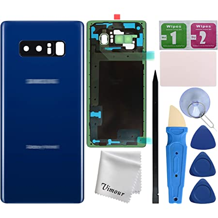 Repair Tool Kit for Samsung Galaxy Note 8 SM-N950 All Carriers Deep Sea Blue Galaxy Note 8 Replacement Back Glass Panel Case with Installation Manual All the Adhesive Pre-Installed Camera Lens