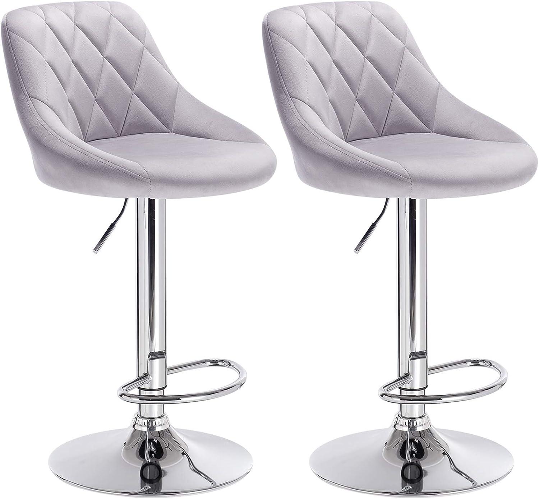 WOLTU Bar Stools Light Grey Bar Chairs Breakfast Dining Stools for Kitchen  Island Counter Bar Stools Set of 9 pcs Velvet Exterior/Adjustable Swivel ...
