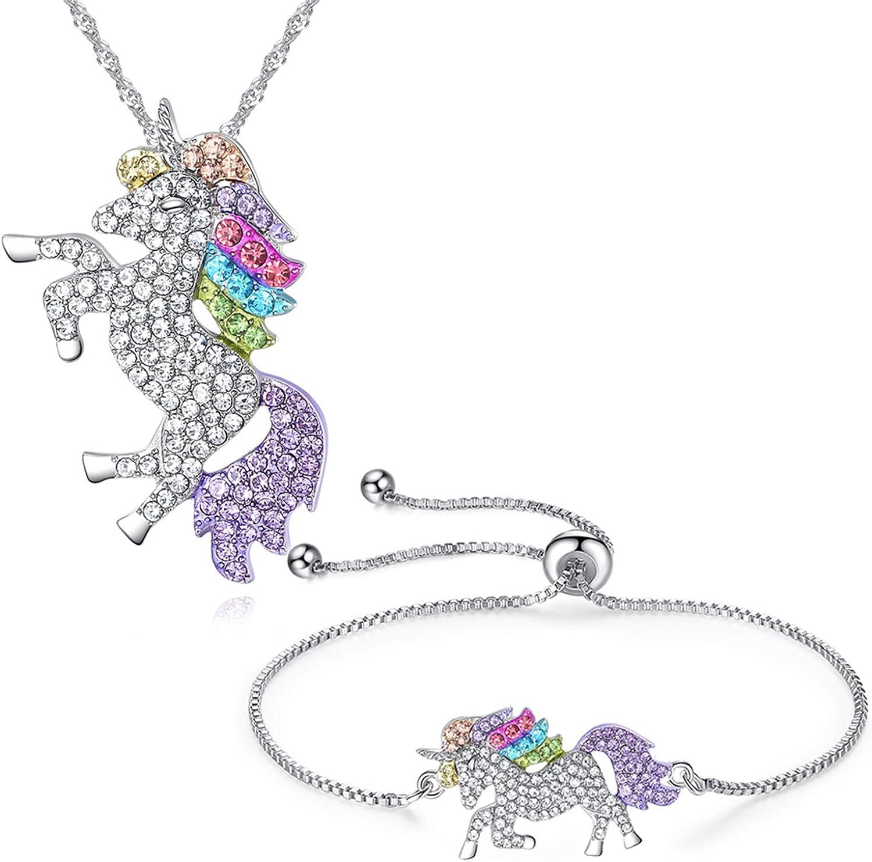 JLJ Rainbow Unicorn Jewelry Set Unicorn Necklace and Unicorn Bracelet Set for Women Girls