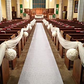 HAISEN Wedding Runner 50ft Solid Aisle Runners for Outdoor Weddings Decorations White