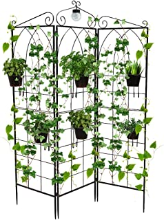 Y&M Garden Trellis for Climbing Plants,Three Panel Folding Trellis,with LED Solar Light