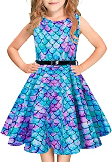Funnycokid Girls Vintage Dress Sleeveless Swing Party Formal Dresses with Belt 5-12 Years