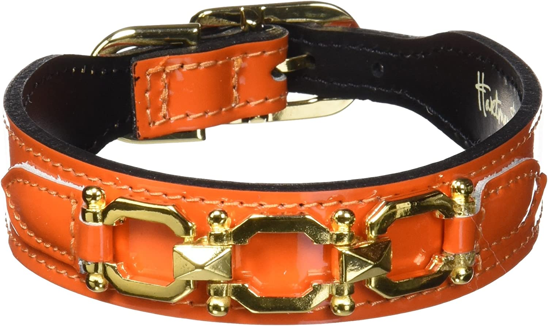 Hartman & pink 3381 Georgia Dog Collar, 12 to 14Inch, orange Patent