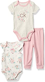 Calvin Klein Girls' 3 Pieces Bodysuit Pants Set, Dried Flowers/White/Oatmeal Heather