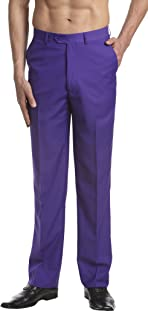 Men's Dress Pants Trousers Flat Front Slacks Solid PURPLE INDIGO Color