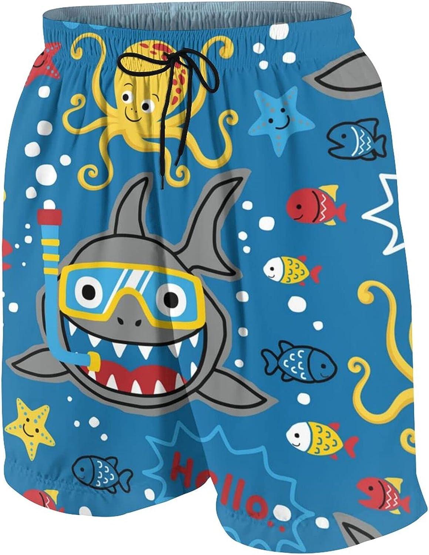 Shark Diver Teen Boys Quick Dry Surf Swim Trunk Print Youth Summer Beach Board Shorts