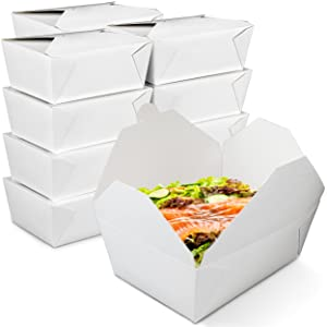 [30 Pack] 112 oz Paper Take Out Containers 8.8 x 6.5 x 3.5