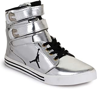 Men's Casual High Top Silver Shoes :: Appe-00296