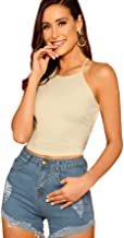 Verdusa Women's Lace Up Backless Ribbed Halter Crop Top