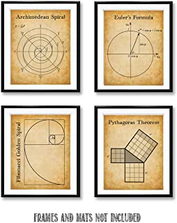 Math Posters - Set of Four Photos (8x10) Unframed - Makes a Great Gift for Geeks and Math Lovers Under $20
