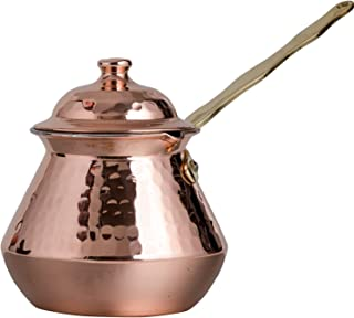 CopperBull Gorgeous Turkish Greek Hammered Copper Coffee Pot Ibrik Briki with Lid, 2mm Thick Copper (20 Oz)