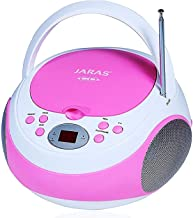 Jaras JJ-Box89 Pink/White Sport Portable Stereo CD Player with AM/FM Stereo Radio and..
