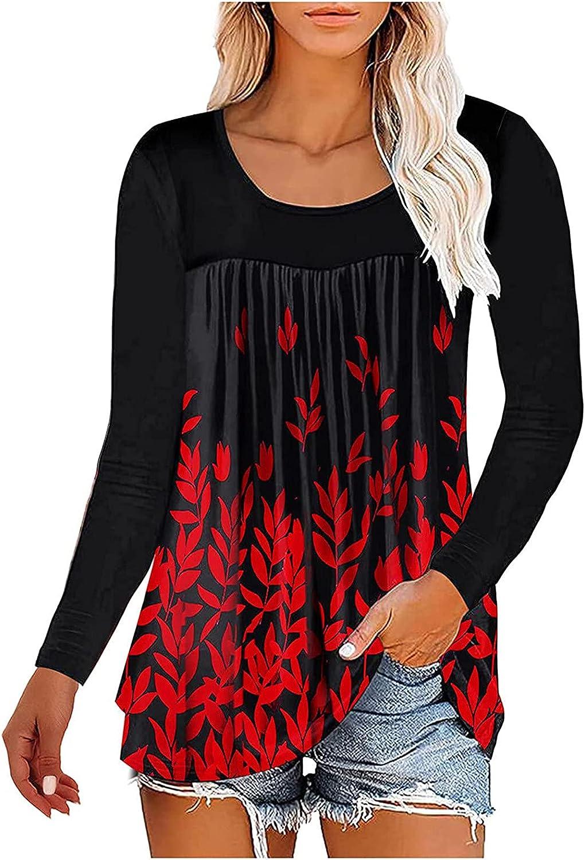 Women's Loose Round Neck Printing Regular Long Sleeve Blouse T-Shirt Tops Easy Match Women's Blouse 349