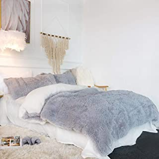 Sleepwish Grey Plush Duvet Cover Set – Violet Faux Fur Bedding, Twin, Full, Queen, and King Size – Bedding Set with Blanket Cover and Two Pillow Shams – Ultra Soft and Comfortable – Cute Room Decor