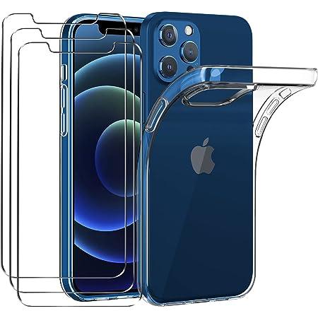 ivoler Clair Coque Compatible avec iPhone 12 Pro/iPhone 12, avec Lot de 3 Protection Écran en Verre Trempé, Transparent Étui de Protection en Silicone Antichoc, Mince Souple TPU Bumper Housse