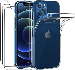 ivoler Fodral Kompatibel med iPhone 12 / iPhone 12 Pro 6,1 tum + 3-pack skärmskydd härdat glas, TPU silikon stötsäkert tel...
