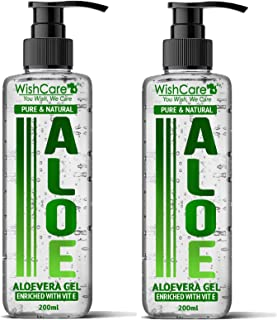 WishCare® Pure & Natural Aloe Vera Gel - Enriched With Vitamin E - Multipurpose Gel for Skin and Hair - Combo Pack of 2 (200 Ml each)