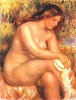 Artisoo Bather drying her leg - Size: 30 x 23 inches - Impressionism Oil painting reproduction - Pierre-Auguste Renoir