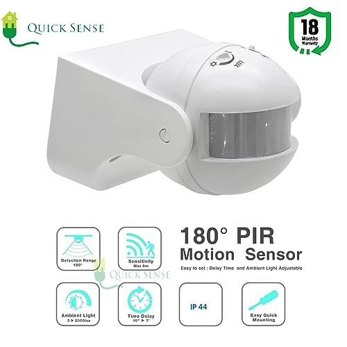 Quick sense 180-Degree Automatic Wall-Mount PIR Motion Switch with Light Sensor (220 V, White)