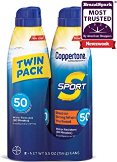 Sponsored Ad - Coppertone Sport Continuous Sunscreen Spray Broad Spectrum SPF 50 (5.5 Ounce Per Bottle, Pack of 2) (Packag...