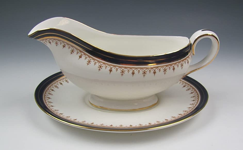 Aynsley China LEIGHTON-COBALT (smooth) Gravy Boat w/Underplate EXCELLENT