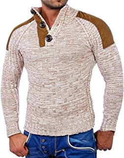 Stoota Men Splicing Casual Daily Pullover, Fashion Long Sleeve Knitting Winter Round Neck SweatersTops Blouse M-XXL